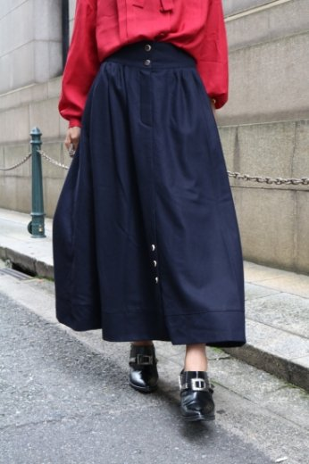 【vintage】front button wool flare skirt / black