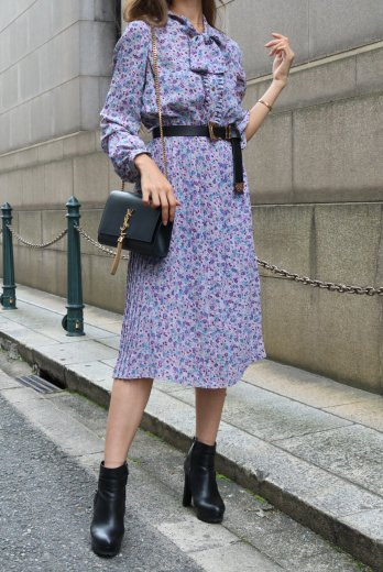 【vintage】front ribbon flower pattern pleats dress