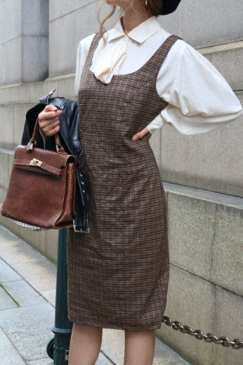 【vintage】gold embroidery thread check pattern jumper skirt