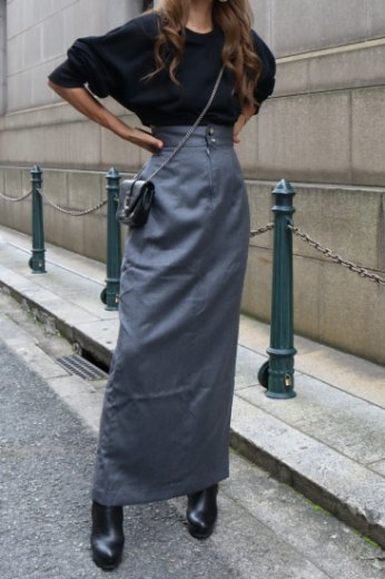 【vintage】front slit long straight skirt / gray