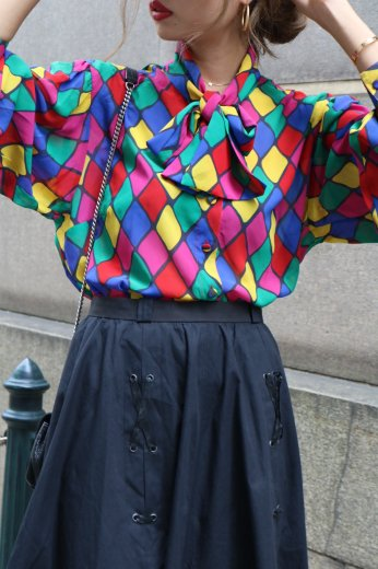 【vintage】front ribbon multi color blouse