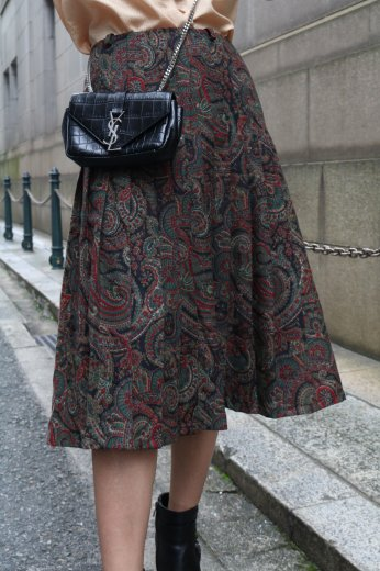 【vintage】paisley pattern pleats skirt