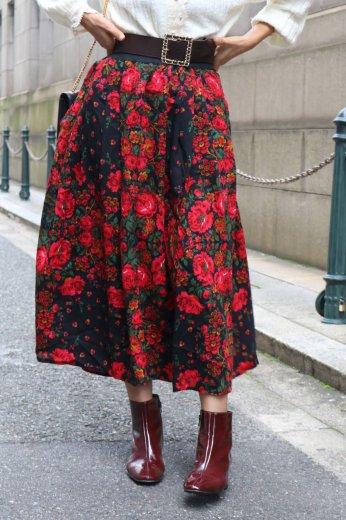 【vintage】rose pattern waist gather flare skirt
