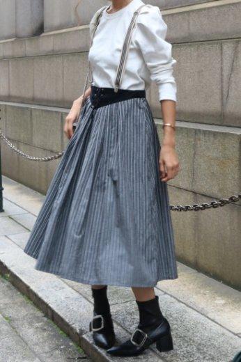 【vintage】front lace up design stripe pattern flare skirt