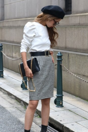 【vintage】hounds tooth check pattern mini skirt