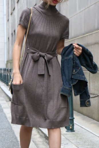 【vintage】Celine / high neck waist belt ribbon knit dress