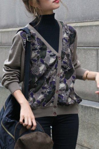 【vintage】Christian Dior / golf classic pattern cardigan / khaki