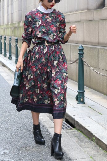 【vintage】shoulder retro button flower pattern flare dress