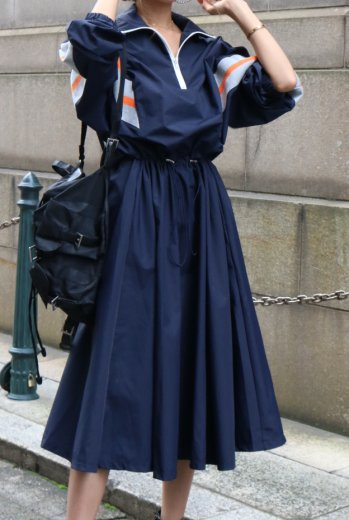 line design rib docking window breaker dress /navy