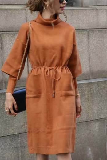 turtle neck knit dress / camel