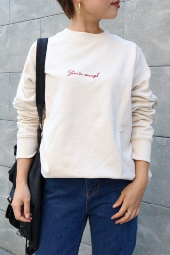 original embroidery design sweatshirt / ivory