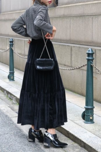 velor long flare skirt / black