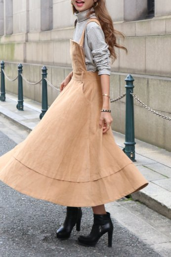 corduroy flare jumper skirt / brown