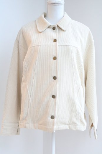 front button corduroy jacket / ivory
