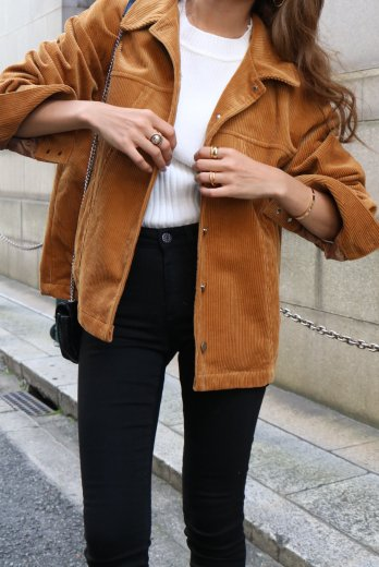 front button corduroy jacket / camel