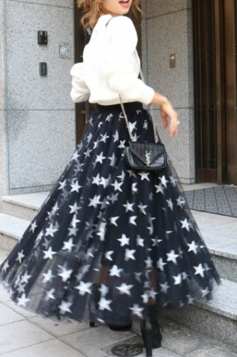 <img class='new_mark_img1' src='//img.shop-pro.jp/img/new/icons57.gif' style='border:none;display:inline;margin:0px;padding:0px;width:auto;' />star pattern tulle flare skirt / navy