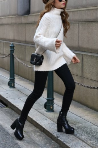 scallop design high neck wool knit / white