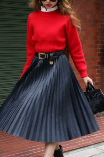fake leather pleats skirt / navy
