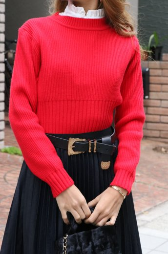 waist wide rib knit tops / red