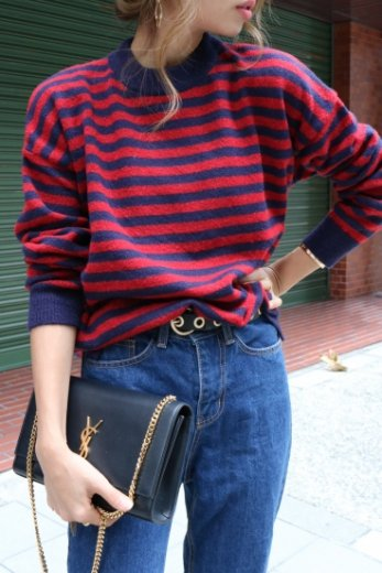stripe knit tops / red×navy