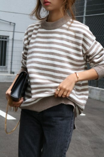 stripe knit tops / gray×white