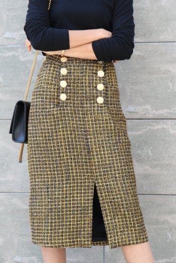 front gold button glitter tweed skirt