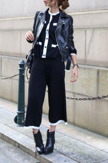 bicolor design cardigan& pants 2 piece set up