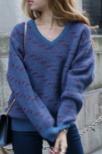 【vintage】Yves Saint Laurent / V neck patterned all over knit tops / blue×red