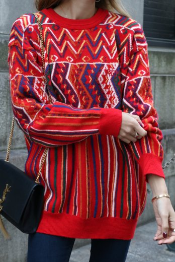 【vintage】KENZO / round neck patterned all over knit tops