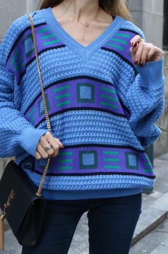 【vintage】Yves Saint Laurent / V neck edge design knit tops / light blue