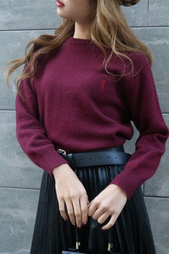 【vintage】 Yves Saint Laurent / round neck embroidery logo wool knit tops / bordeaux