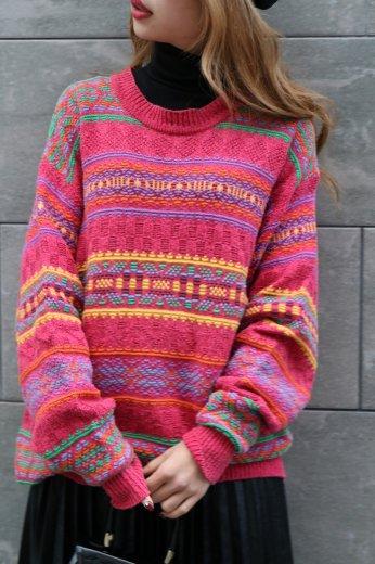 【vintage】KENZO / edge design stripe silk mix knit tops / pink