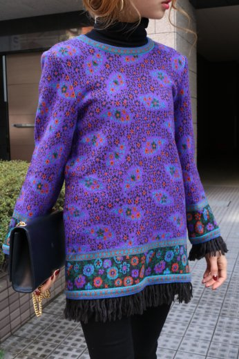 【vintage】Yves Saint Laurent / round neck patterned all over fringe knit tops / purple