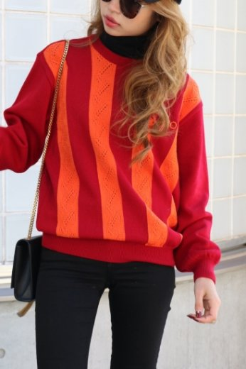 【vintage】KENZO / embroidery logo  bi-color stripe wool knit tops / red orange
