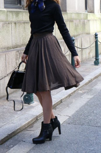 【vintage】Christian Dior / hounds tooth check pattern flare skirt / brown