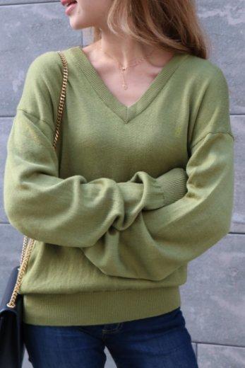 【vintage】 Yves Saint Laurent / embroidery logo V neck knit tops / olive