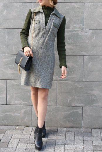 【vintage】FENDI / open collar turtle neck rib knit layered dress / green