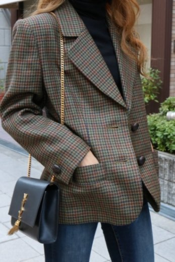 【vintage】Yves Saint Laurent / notched lapel collar hounds tooth check pattern tailored jacket