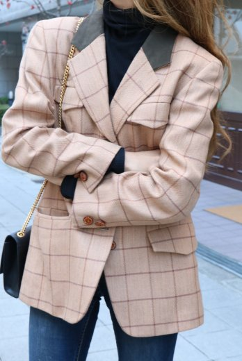 【vintage】Christian Dior / notched lapel collar check pattern tailored jacket / beige