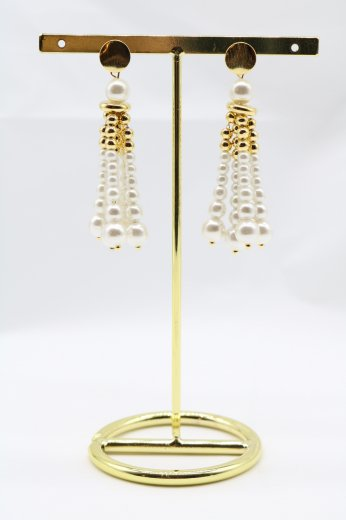 tassel motif pearl pierced earrings