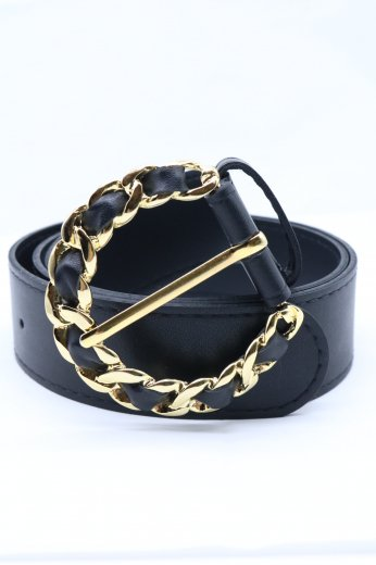 gold chain motif round buckle belt