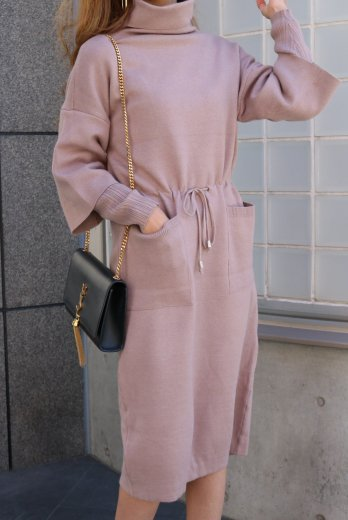 turtle neck knit dress / pink