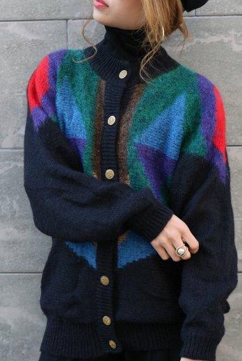 【vintage】front retro gold button multi color knit cardigan
