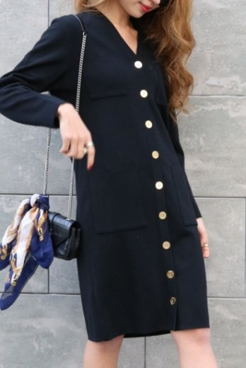 【vintage】Yves Saint Laurent / front gold logo button 2 way black dress