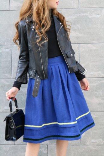 【vintage】KENZO / collar tape design terede flare skirt