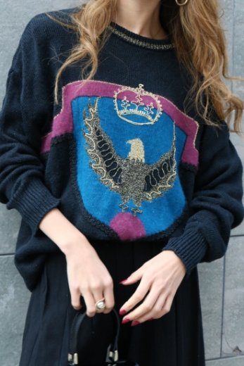 【vintage】round neck glitter embroidery design knit tops