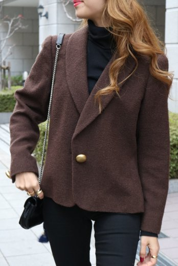 【vintage】Yves Saint Laurent / single gold button wool jacket / brown