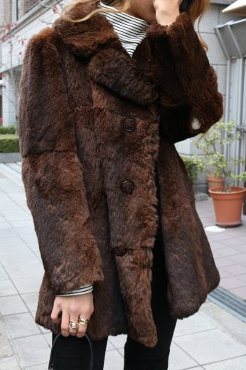 【vintage】notched lapel collar fur coat / brown