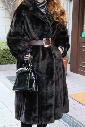 【vintage】notched lapel collar fake fur coat / dark brown