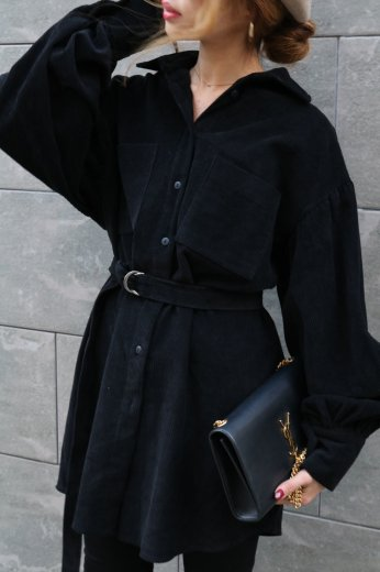 2way corduroy shirt dress (belt set) / black